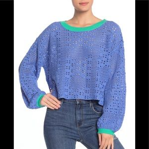 Free People Cable Knit Crew Neck Sweater Small